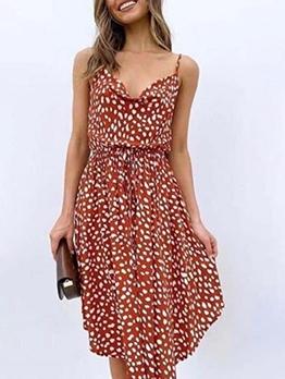 Summer Elastic Waist Dots One Piece Dress