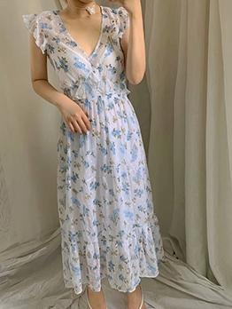 V Neck Ruffled Floral Midi Dress