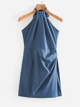 Sexy Solid Women Halter Mini Dress