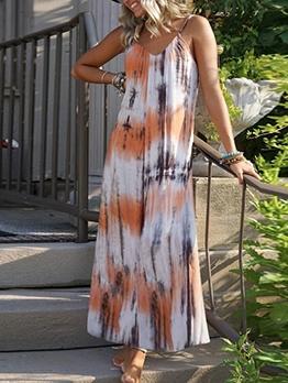 Euro Tie Dye Sleeveless Beach Maxi Dress