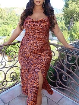 Casual Printed Spaghetti Strap Summer Dress