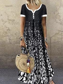 Euro Short Sleeve Female Printed Maxi Dress