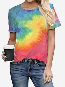 Stylish Tie Dye Short Sleeve Ladies t Shirts