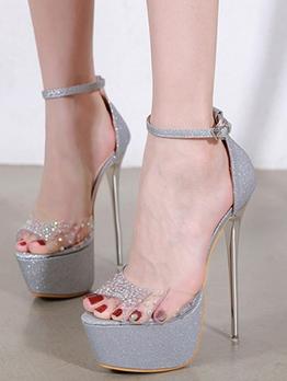 Rhinestone Peep Toe Stilettos Platform Sandals