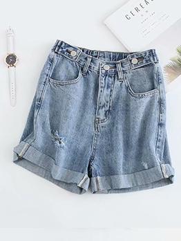Turndown Edges Daily Wear Female Denim Shorts