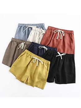 Casual Wear Drawstring Waist Loose Short Pants