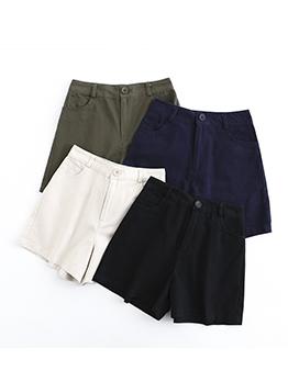 Plain Solid Color Loose Short Pants For Women
