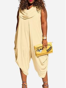 Plus Size Solid Color Cowl Neck Jumpsuits