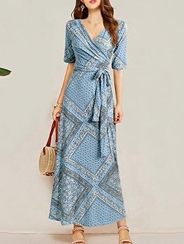 Plus Size Tie Wrap Print Short Sleeve Maxi Dress