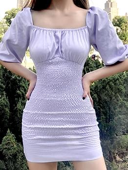 Puff Sleeve Purple Bodycon Dress Vintage