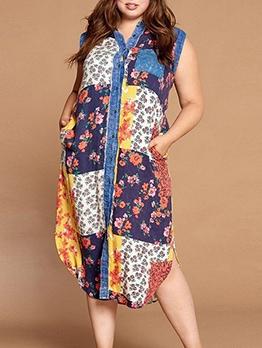 Color Block Print Single-Breasted Sleeveless Maxi Dress