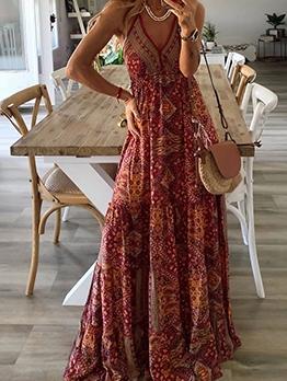 Bohemian Print V Neck Sleeveless Maxi Dress