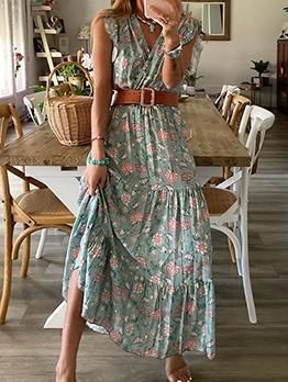 V Neck Sleeveless Floral Maxi Dress