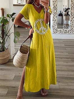 Casual Split Short Sleeve Maxi Dress