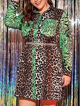 Contrast Color  Leopard Long Sleeves Plus Size Dresses