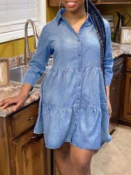 Solid Single-Breasted Long Sleeve Denim Dress