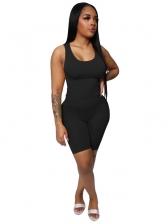 U Neck Sleeveless Casual Wear Two Piece Shorts Set