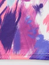 Crossed Straps Backless Color Block Tie Dye Midi Dress