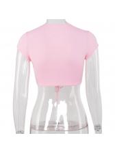 Pink Drawstring V Neck Cropped Plain T Shirt