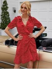 V Neck Small Heart Pattern Red Short Sleeve Dress