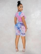 Fashion Tie Dye Lips Print Two Piece Sets