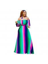 Fashion Multicolored Off The Shoulder Maxi Dress