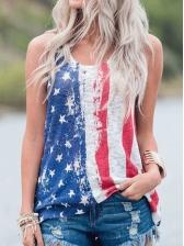 American Flag Sleeveless Tank Tops For Women