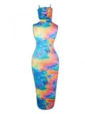 Fashion Tie Dye Sleeveless Maxi Dress