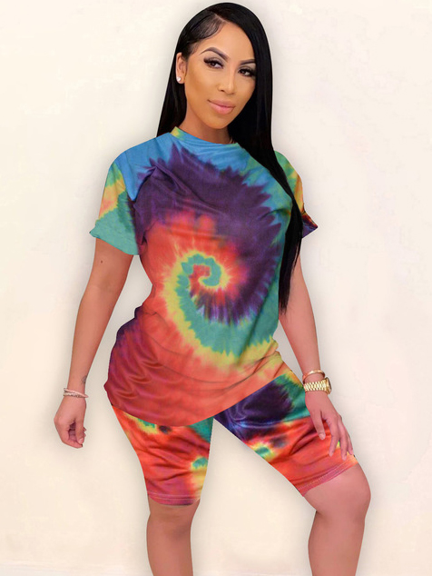 New Arrival Multicolored Tie Dye Two Piece Set