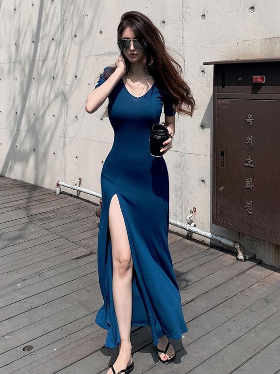 Simple v Neck High Slit Summer Maxi Dresses