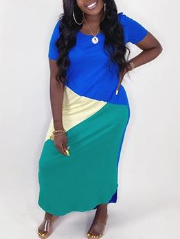 Color Patchwork Ankle Length Casual Maxi Dresses