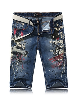Trendy Printed Mid Waist Denim Half Pants