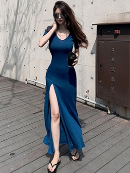 Simple v Neck High Slit Summer Maxi Dresses