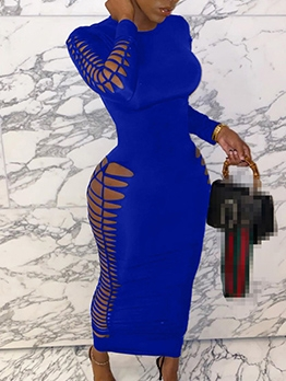 Hollow Out Long Sleeve Sexy Bodycon Maxi Dress