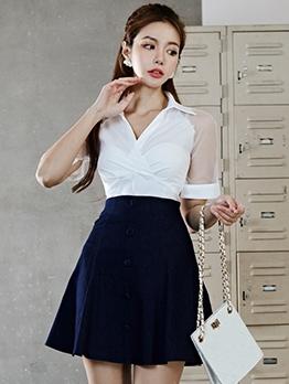 Gauze Patchwork Top And Skirt Set