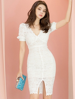 Fashion V Neck Puff Sleeve White Lace Dress