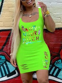 U Neck Colorful Letter Sleeveless Short Dress