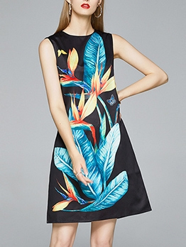 Hot Sale Exquisite Print Summer A-Line Dress