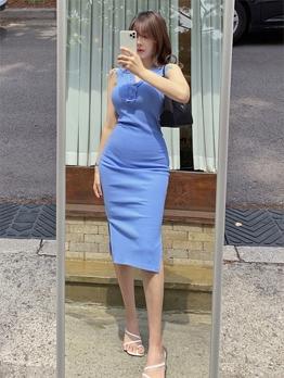 Simple v Neck Sleeveless Summer Dresses