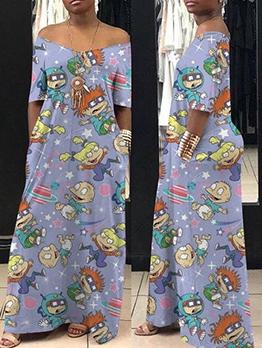 Cartoon Print Off The Shoulder Loose Maxi Dress