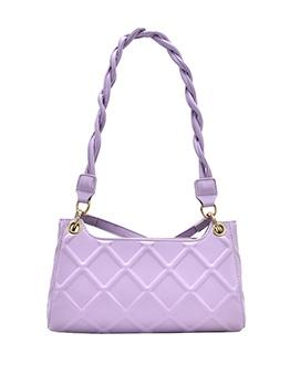 Rhombus Lattice Woven Strap Solid Color Shoulder Bags
