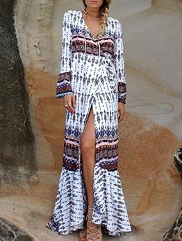 Bohemian Printed Long Sleeve Beach Maxi Dress