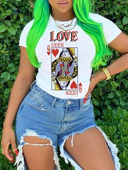 Summer Poker Print Short Sleeve White T-Shirt