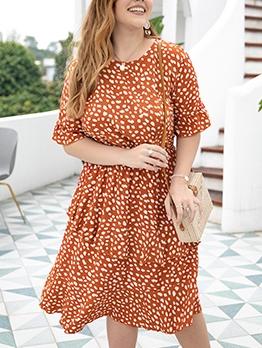 Euro Plus Size Dots Short Sleeve Dress