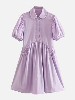 Doll Collar Puff Short Sleeve Casual Dresses