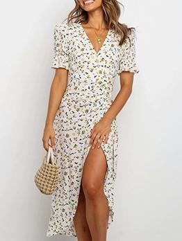 V Neck Printed Slit Midi Dress