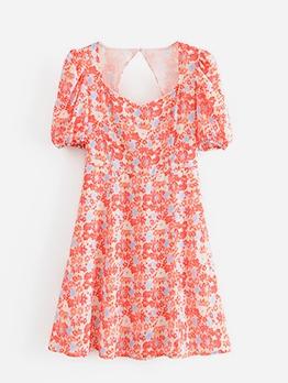 Back Cutout Printed Short Sleeve Dress