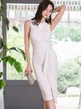 Korean Style Summer Fitted Solid Sleeveless Knee Length Dress