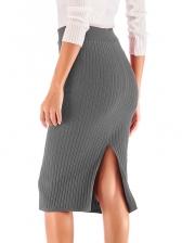 High Waist Solid Knitting Short Skirt