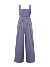 Elastic Square Collar Wide Leg Jumpsuit Women